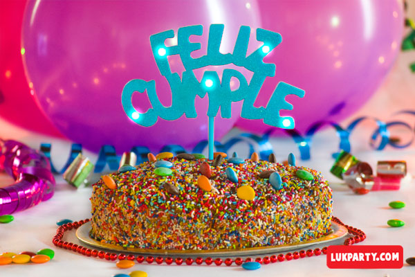 Frase con luz led Feliz Cumple color celeste