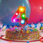 Numero 4 Gigante Multicolor con luces