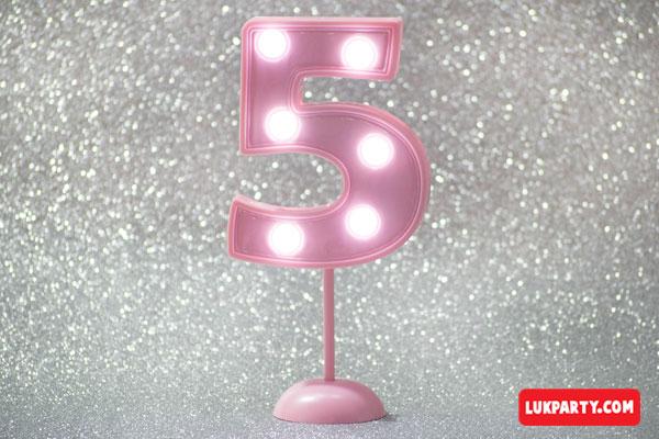 Número 5 gigante color rosa con luces