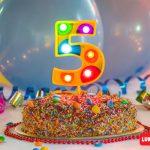 Numero 5 Gigante Multicolor con luces