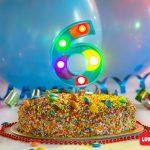 Numero 6 Gigante Multicolor con luces