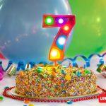 Numero 7 Gigante Multicolor con luces