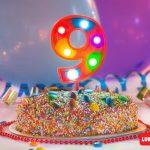 Numero 9 Gigante Multicolor con luces