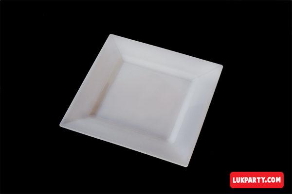 Plato Descartable plástico de 16x16cm color blanco
