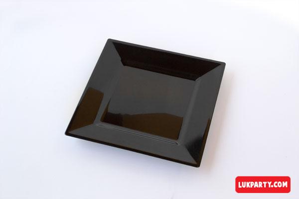 Plato Descartable plástico de 16x16cm color negro