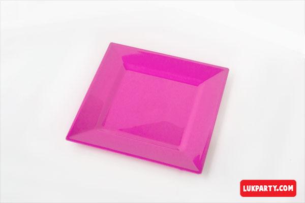 Plato Descartable plástico de 16x16cm color rosa