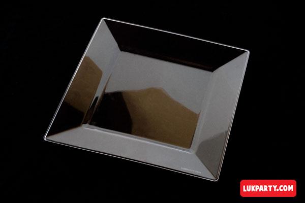 Plato Descartable plástico de 20x20cm cristal