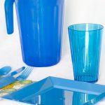 Set cubiertos Descartables plasticos con jarra color celeste