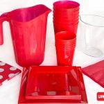 Cubiertos descartables color Rojo con jarra