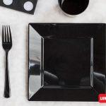 Set cubiertos plásticos reforzados color negro