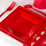 Set cubiertos plásticos reforzados color rojo